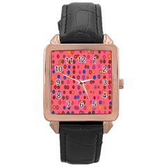 Circles Abstract Circle Colors Rose Gold Leather Watch