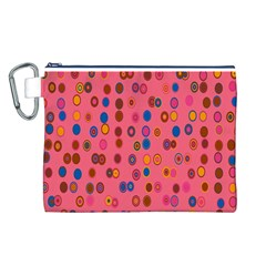 Circles Abstract Circle Colors Canvas Cosmetic Bag (l)