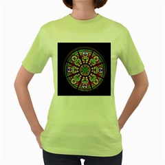 Church Window Window Rosette Women s Green T-Shirt