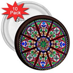 Church Window Window Rosette 3  Buttons (10 Pack)