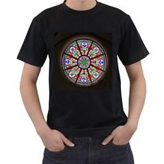 Church Window Window Rosette Men s T-Shirt (Black) (Two Sided)
