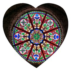 Church Window Window Rosette Jigsaw Puzzle (heart)