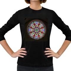 Church Window Window Rosette Women s Long Sleeve Dark T-Shirts
