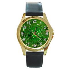 Circuit Board Round Gold Metal Watch