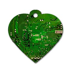 Circuit Board Dog Tag Heart (One Side)