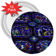 Church Window Canterbury 3  Buttons (10 pack)