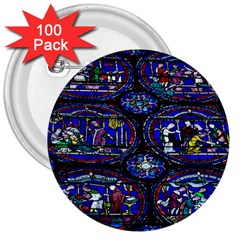 Church Window Canterbury 3  Buttons (100 Pack)