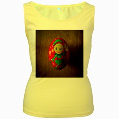 Christmas Wreath Ball Decoration Women s Yellow Tank Top