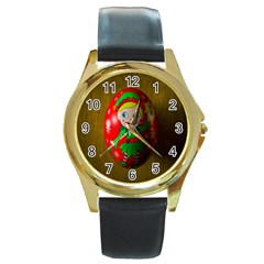 Christmas Wreath Ball Decoration Round Gold Metal Watch