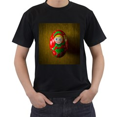 Christmas Wreath Ball Decoration Men s T-Shirt (Black) (Two Sided)