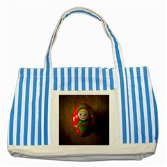 Christmas Wreath Ball Decoration Striped Blue Tote Bag