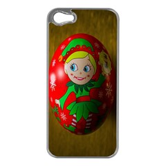 Christmas Wreath Ball Decoration Apple Iphone 5 Case (silver)