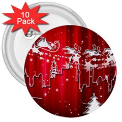 City Nicholas Reindeer View 3  Buttons (10 pack)