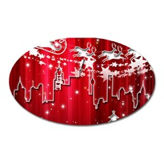 City Nicholas Reindeer View Oval Magnet