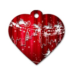 City Nicholas Reindeer View Dog Tag Heart (Two Sides)