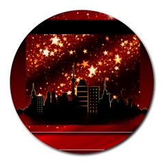 City Silhouette Christmas Star Round Mousepads