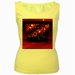 City Silhouette Christmas Star Women s Yellow Tank Top