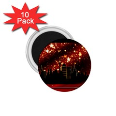 City Silhouette Christmas Star 1 75  Magnets (10 Pack)
