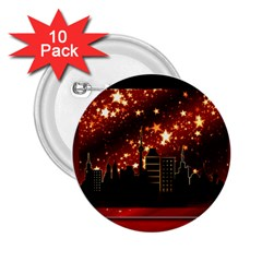 City Silhouette Christmas Star 2 25  Buttons (10 Pack)