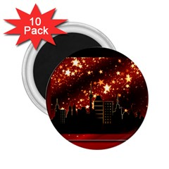 City Silhouette Christmas Star 2 25  Magnets (10 Pack)