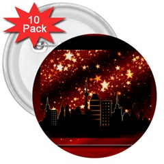 City Silhouette Christmas Star 3  Buttons (10 pack)
