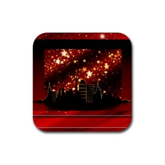 City Silhouette Christmas Star Rubber Square Coaster (4 pack)
