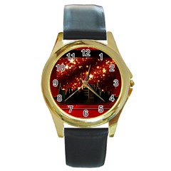 City Silhouette Christmas Star Round Gold Metal Watch