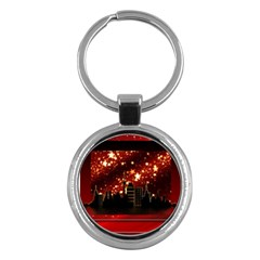 City Silhouette Christmas Star Key Chains (Round)