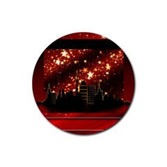 City Silhouette Christmas Star Rubber Round Coaster (4 pack)