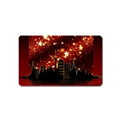 City Silhouette Christmas Star Magnet (Name Card)