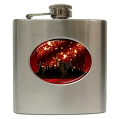 City Silhouette Christmas Star Hip Flask (6 Oz)