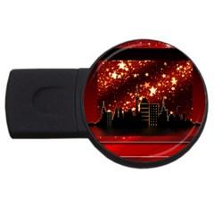 City Silhouette Christmas Star USB Flash Drive Round (1 GB)