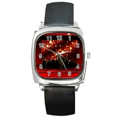 City Silhouette Christmas Star Square Metal Watch