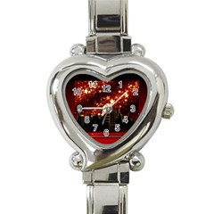 City Silhouette Christmas Star Heart Italian Charm Watch