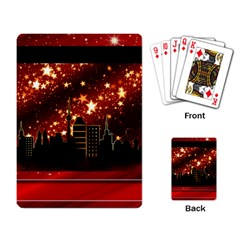City Silhouette Christmas Star Playing Card