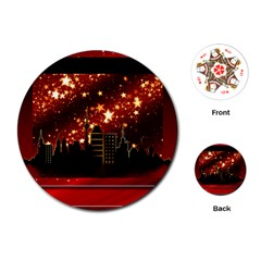 City Silhouette Christmas Star Playing Cards (round)