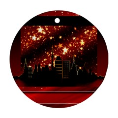 City Silhouette Christmas Star Round Ornament (Two Sides)