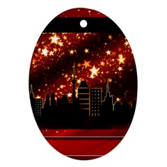 City Silhouette Christmas Star Oval Ornament (Two Sides)