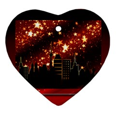 City Silhouette Christmas Star Heart Ornament (Two Sides)