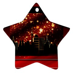 City Silhouette Christmas Star Star Ornament (Two Sides)
