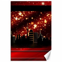 City Silhouette Christmas Star Canvas 12  x 18