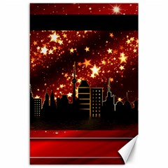City Silhouette Christmas Star Canvas 24  x 36