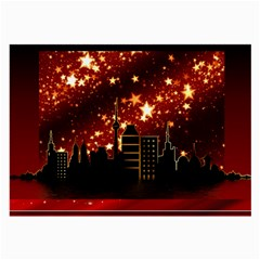 City Silhouette Christmas Star Large Glasses Cloth