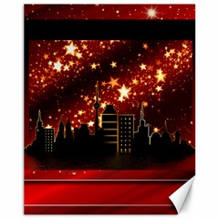 City Silhouette Christmas Star Canvas 11  x 14