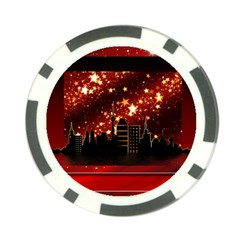 City Silhouette Christmas Star Poker Chip Card Guard