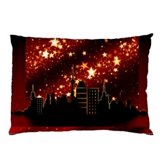 City Silhouette Christmas Star Pillow Case