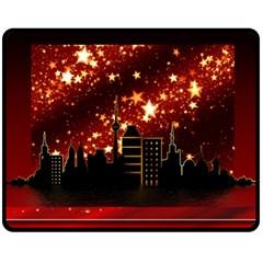 City Silhouette Christmas Star Fleece Blanket (Medium)