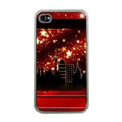 City Silhouette Christmas Star Apple iPhone 4 Case (Clear)
