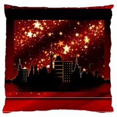 City Silhouette Christmas Star Large Cushion Case (Two Sides)