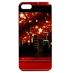 City Silhouette Christmas Star Apple Iphone 5 Hardshell Case With Stand